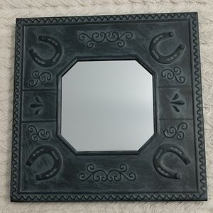Punched Tin Mirror Photo Frame Horseshoe distressd